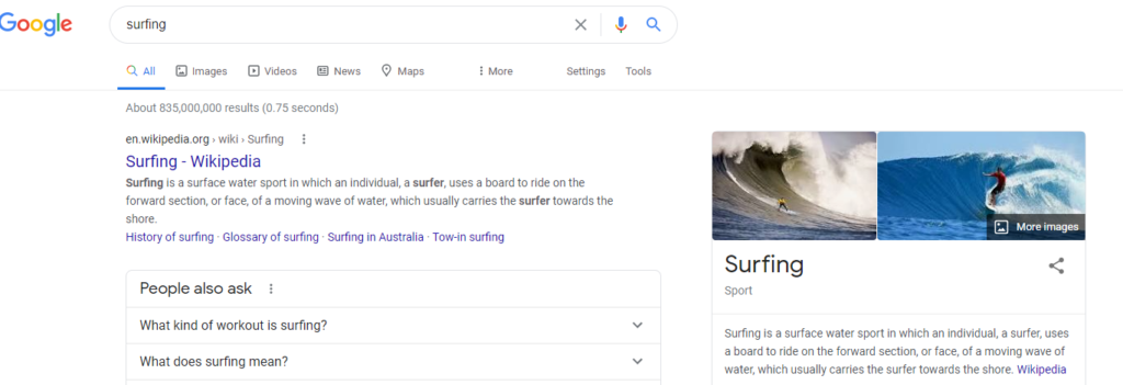 """Finding keywords """"surfing"""" search"""